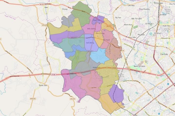 Bản đồ quy hoạch địa chính huyện Hoài Đức