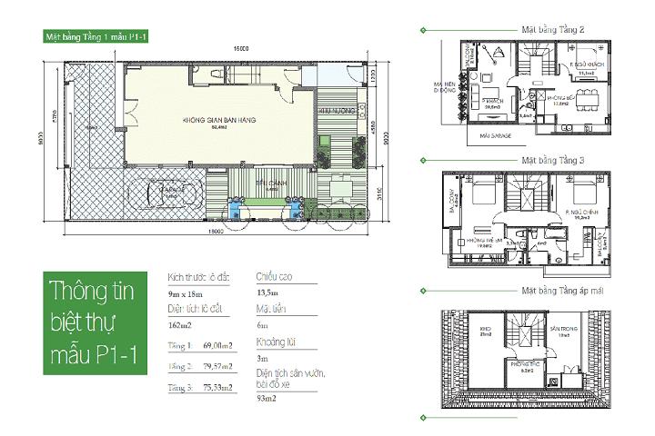 Mẫu thiết kế P1-1 biệt thự An Phú Shop Villa
