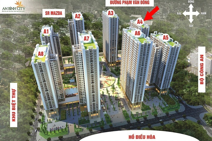 Chung cư An Bình City gồm 8 tòa tháp cao tầng