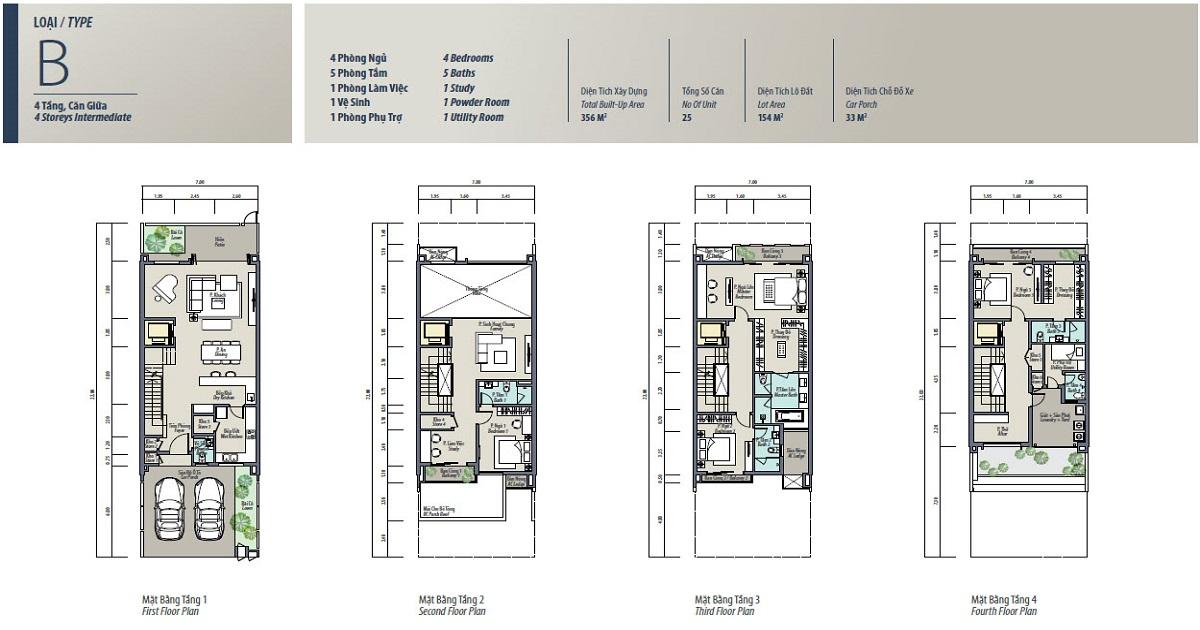 Mẫu thiết kế loại B liền kề The Mansions ParkCity hanoi
