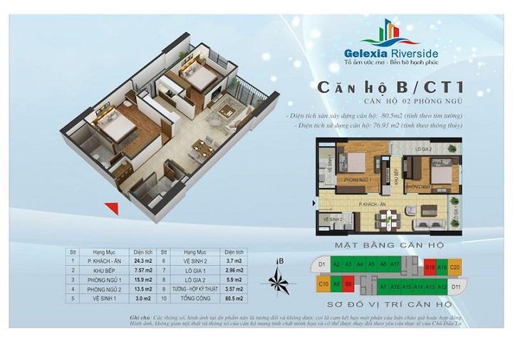 Mẫu thiết kế căn hộ 2PN tòa CT1 chung cư Gelexia 885 Tam Trinh