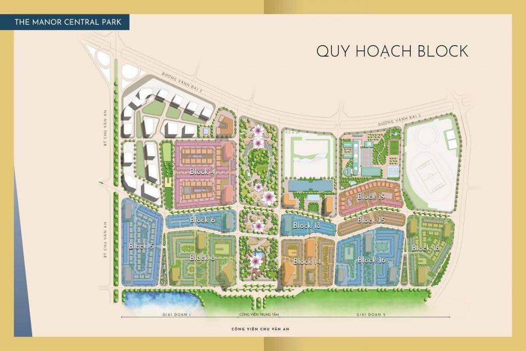 Mặt bằng phân khu The Manor Central Park Nguyễn Xiển