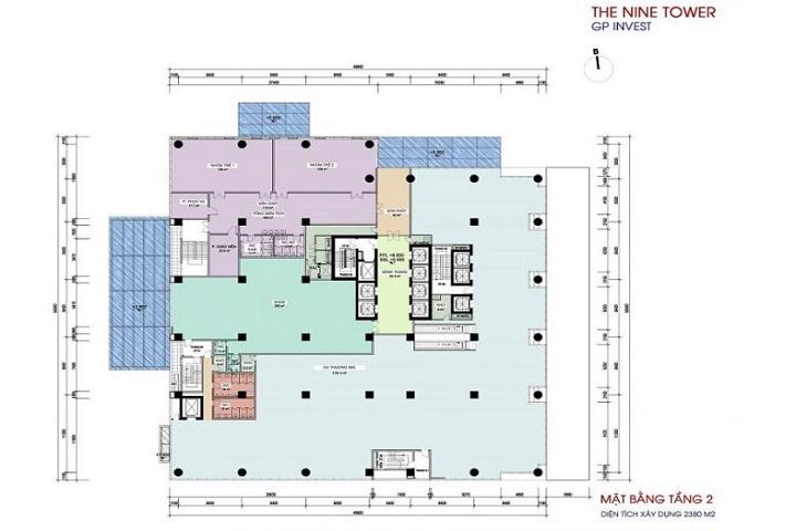 Mặt bằng tầng 2 chung cư The Nine Tower Phạm Văn Đồng
