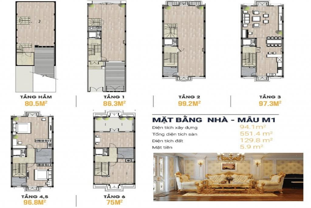 Thiết kế mặt bằng shophouse Kiến Hưng Luxury