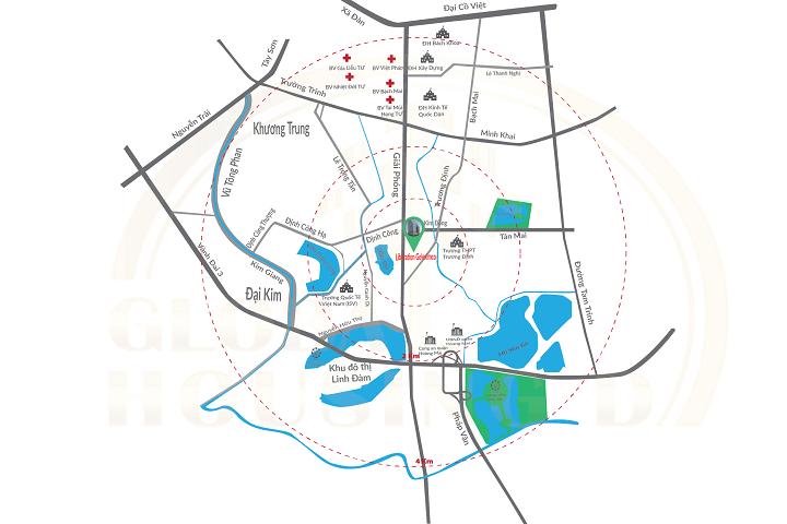 Vị trí dự án chung cư geleximco 897 Giải Phóng