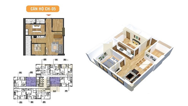 căn hộ 2PN chung cư X2 Đại Kim Hoàng Mai