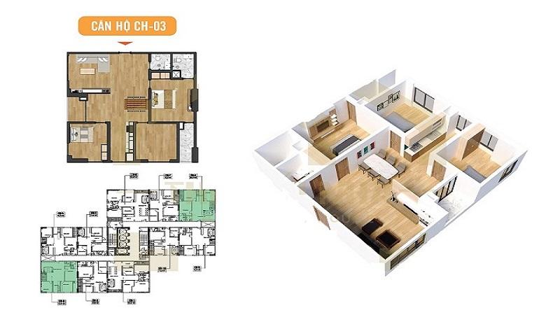 căn hộ 93m2 dự án nhà ở xã hội X2 Đại Kim