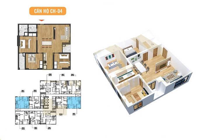 mặt bằng căn hộ 93m2 X2 Đại Kim